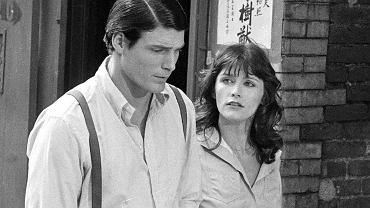 Margot Kidder z Christopherem Reevem na planie filmu 'Superman', 1977 rok