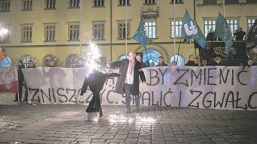 Pikieta i podpalenie kukły Żyda na wrocławskim rynku