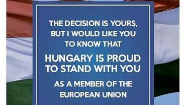 Viktor Orban apeluje do Brytyjczyków, aby głosowali przeciwko Brexitowi.