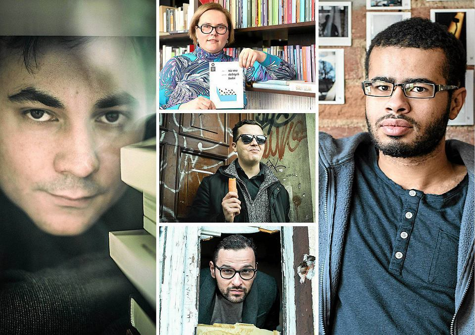 #Warto 2017. Nominowani w kategorii literatura: (1) Rafał Różewicz (2) Ewa Jarocka (3) Kamil Zając (4) Bartosz Sadulski (5) Daniel Fernandes da Fonseca