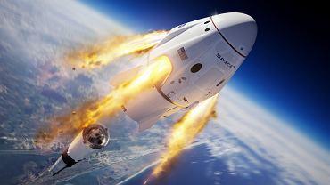 Test ewakuacji statku Dragon. Symulacja odstrzelenia statku Dragon od rakiety Falcon-9, która uległa krytycznej awarii