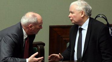 Min. Antoni Macierewicz i Jarosław Kaczyński w Sejmie