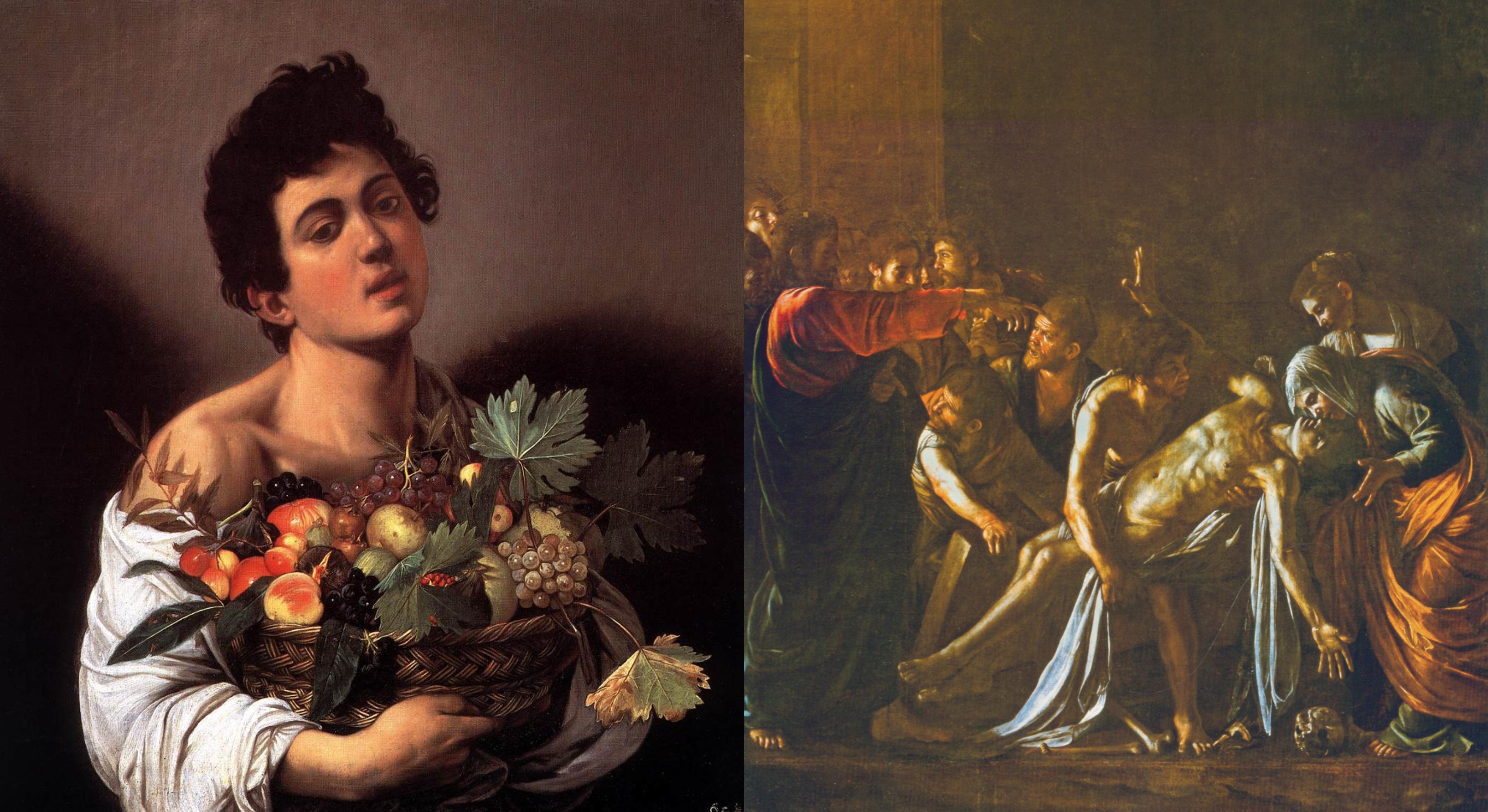 Po lewej: Chłopiec z koszykiem owoców (fot. Galleria Borghese, Rzym), po prawej: Wskrzeszenie Łazarza (fot. Museo Nazionale, Messina)
