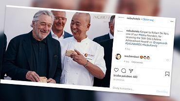 Robert de Niro i szef kuchni Nobu Matsuhisa - współwłaściciele sieci restauracji i hoteli Nobu