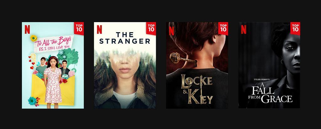 Oznaczenia filmów i seriali, które znajdują się w TOP 10