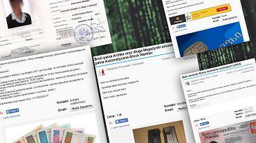 Fałszywe dyplomy, prawa jazdy, pieniądze w polskim serwisie ogłoszeniowym