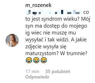 Komentarz na profilu Małgorzaty Rozenek