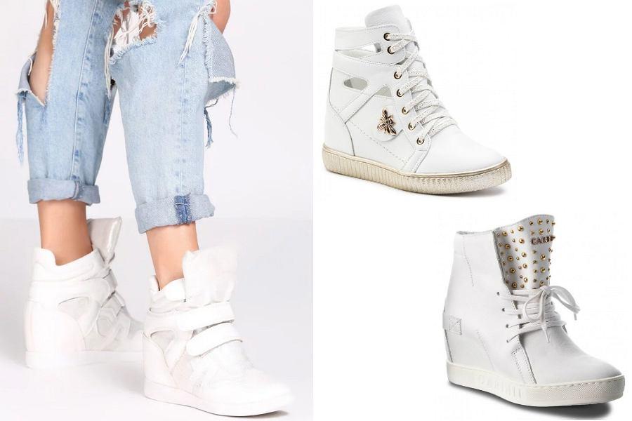 białe sneakersy na koturnie