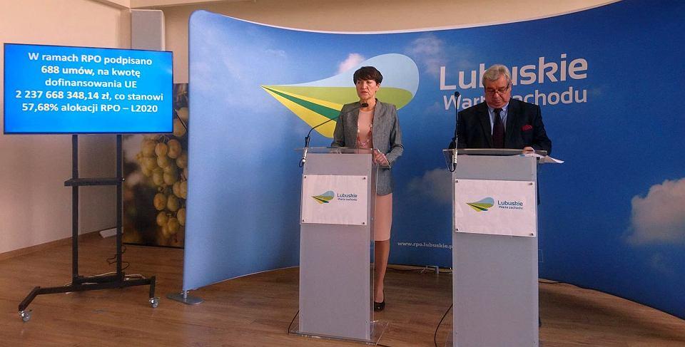 Konferencja prasowa, 19 września 2018. Marszałek Elżbieta Polak i wicemarszałek Romuald Gawlik
