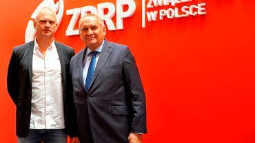 Trener Arne Senstad (z lewej) i prezes ZPRP Andrzej Kraśnicki
