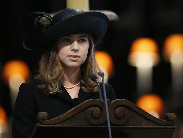 Amanda Thatcher, granddaughter of former British Prime Minister Margaret Thatcher, delivers a reading during the funeral service in St Paul's Cathedral in London, Wednesday, April 17, 2013. Margaret Thatcher, Britain's Iron Lady, was laid to rest Wednesday with a level of pomp and protest reflecting her status as a commanding, polarizing political figure. (AP Photo/Kirsty Wigglesworth, pool)