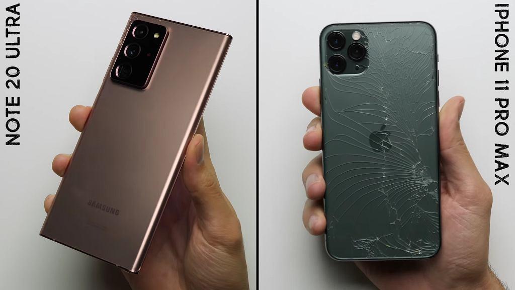 Odporność na upadki. Galaxy Note 20 Ultra vs. iPhone 11 Pro Max