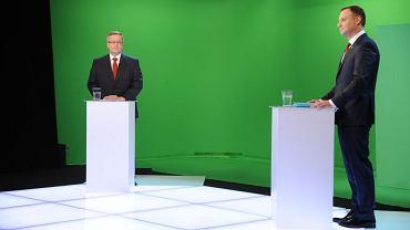 Andrzej Duda i Bronisław Komorowski podczas debaty prezydenckiej
