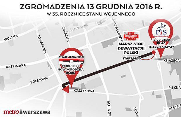 Manifestacje 13 grudnia. Utrudnienia w ruchu w całym centrum Warszawy.
