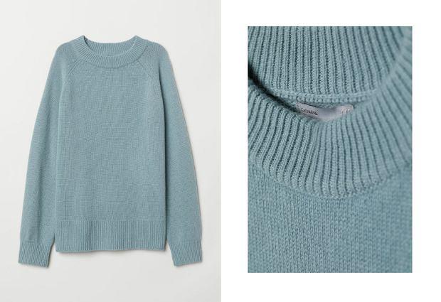 Kaszmirowy sweter H&M turkusowy - cena 279 zł