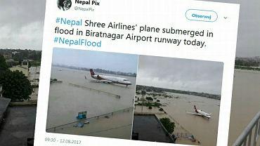 Port lotniczy Biratnagar w Nepalu. Samolot uwięziony na zalanym pasie startowym