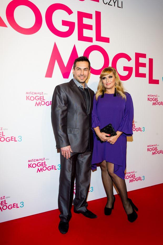 Katarzyna Skrzynecka z mężem na premierze filmu Kogel Mogel