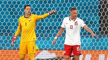 Wojciech Szczęsny i Kamil Glik podczas meczu Hiszpania - Polska na Euro 2020