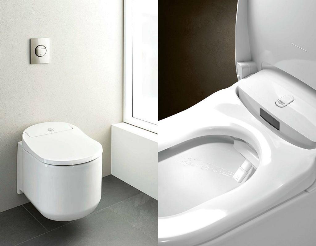 SENSIA ARENA, toaleta myjąca, podwieszana, ceramika, wśród funkcji m.in: pulsujący strumień do masażu, osuszanie, usuwanie zapachów, 9119 zł, Grohe