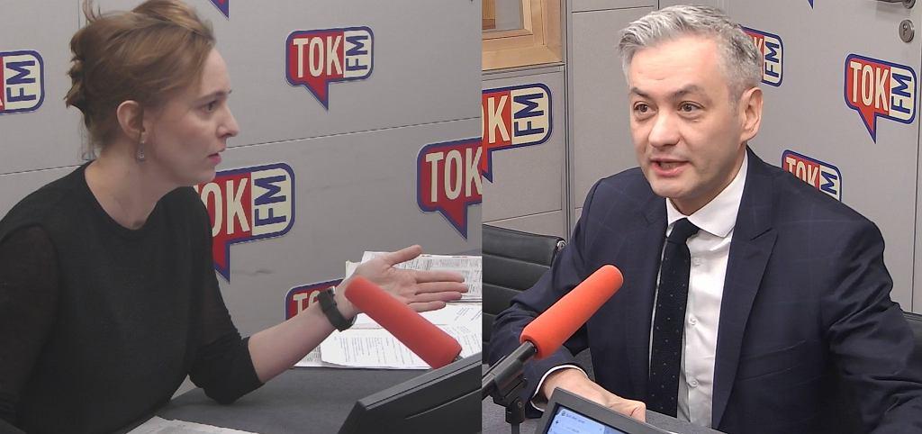 Karolina Lewicka i Robert Biedroń w studiu TOK FM