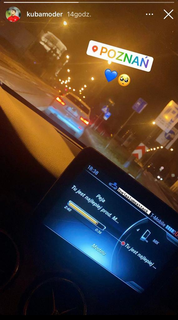 Zdjęcie Jakuba Modera (Lech Poznań) żegnającym się z Poznaniem na Instagramie. / Źródło: Instagram (kubamoder)