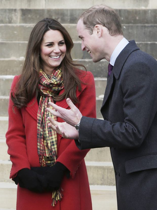 The Duke and Duchess of Cambridge, known as the Earl and Countess of Strathearn when in Scotland, smile during a visit to Dumfries House in Ayrshire, Scotland, to attend the opening of an outdoor centre, Friday April 5, 2013. (AP Photo/Danny Lawson, Pool)