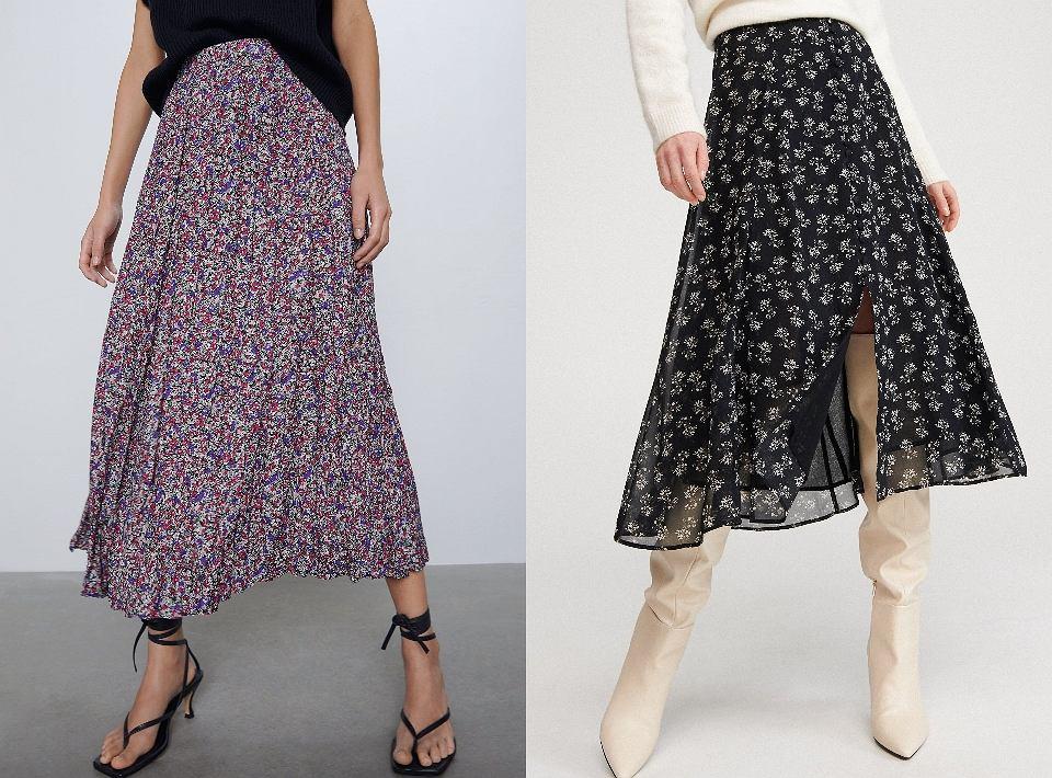 Spódnice w stylu lat 70. znalazłyśmy między innymi w Zarze (model po lewej: 139 zł) i w Reserved (po prawej: 139,99 zł)