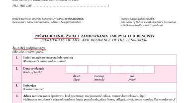 Fragment formularza, który trafia do emerytów mieszkających poza Polską