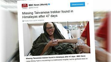 Odnaleziony w Himalajach traper Liang Sheng Yueh