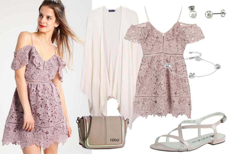 Stylizacja z krótką koronkową sukienką / Kolaż / Materiały partnera