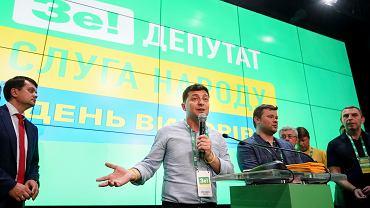 Prezydent Ukrainy Wołodymyr Zełenski w sztabie partii Sługa Narodu