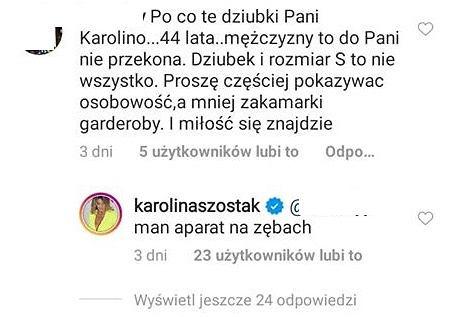 Komentarze na Instagramie Karoliny Szostak
