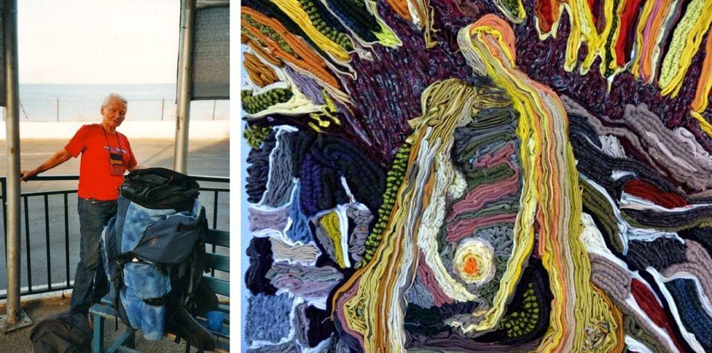 Ważący 30 kg plecak po lewej. Po prawej - gobelin, który powstał na warsztatach tkackich prowadzonych przez panią Teresę (fot. archiwum prywatne)