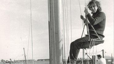 Teresa Remiszewska na jachcie Komodor. Newport w USA, 1972 r.