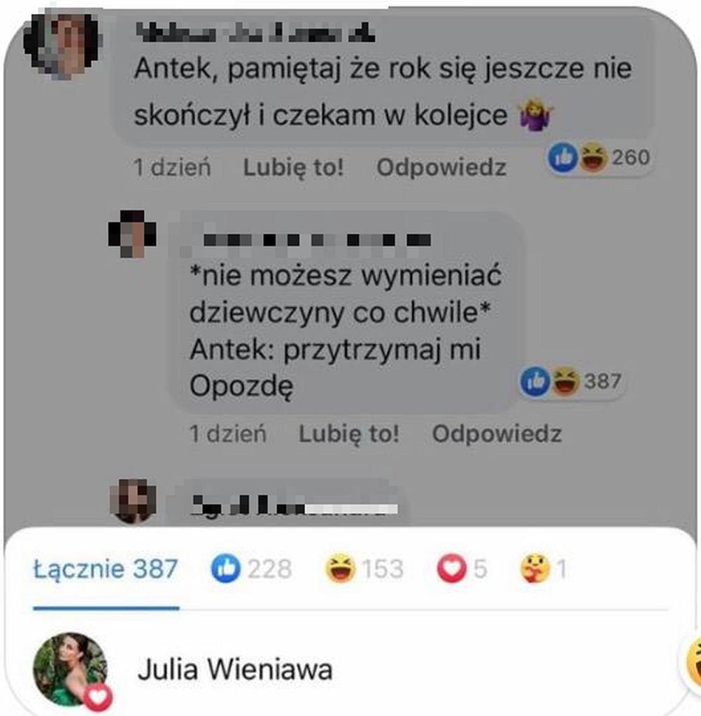 Julia Wieniawa polubiła hejterski komentarz o nowej dziewczynie byłego chłopaka
