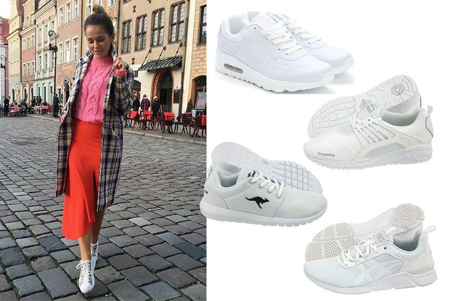 Kolaż, białe buty sportowe/Materiał partnera