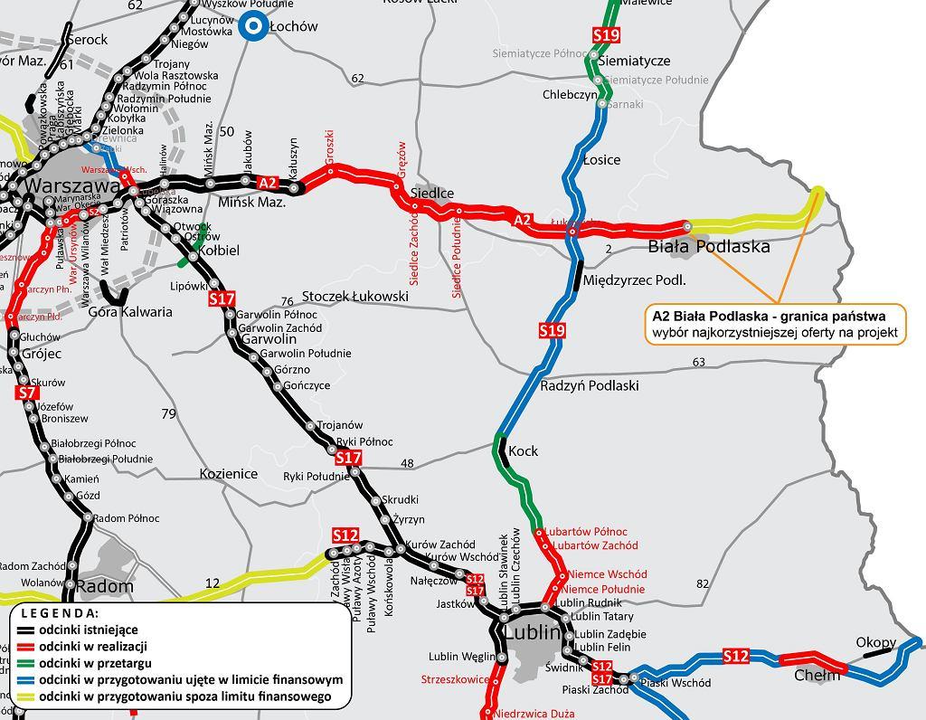 Autostrada A2, węzeł Biała Podlaska - granica państwa