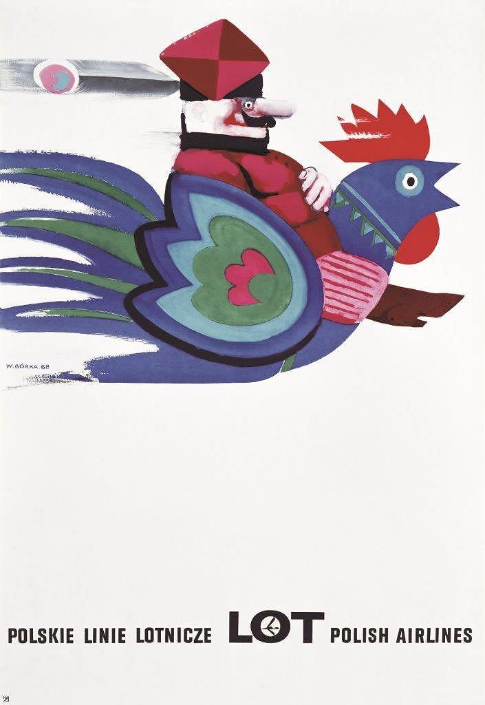 Plakat promocyjny LOT-u; Wiktor Górka, 1968 r.