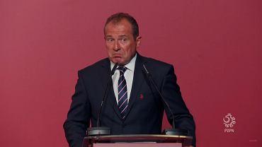 Marek Koźmiński podczas wyborów na prezesa PZPN
