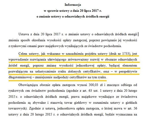 Fragment informacji Kancelarii Prezydenta