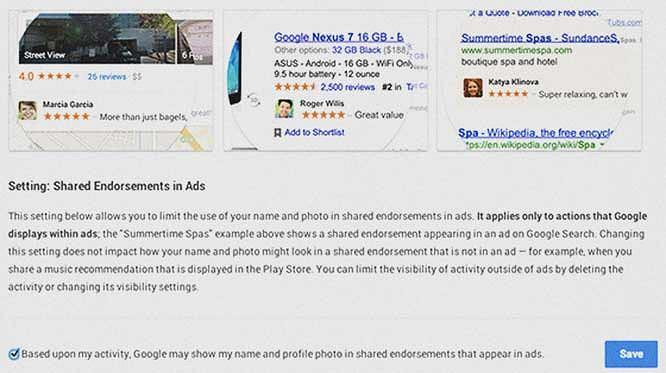 Przykład reklamy używającej zdjęcie z profilu Google+