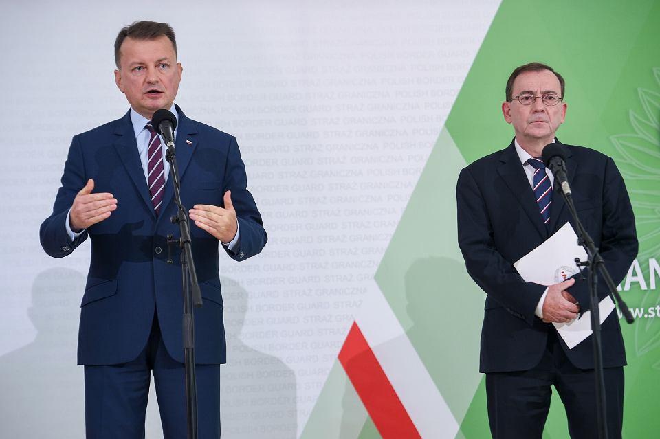 Mariusz Błaszczak i Mariusz Kamiński wspólnej konferencji MSWiA, MON i SG/ Warszawa, 27.09.2021.