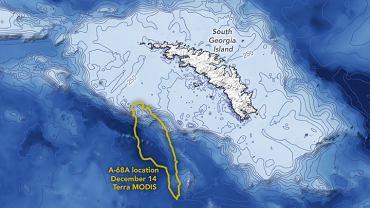Góra lodowa A-68A i Południowa Georgia