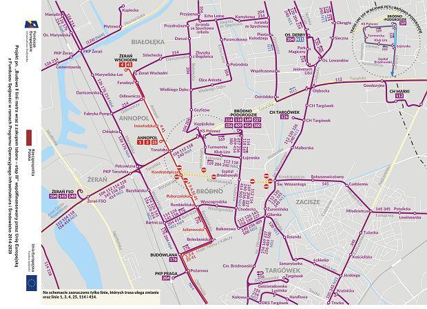 Zmiany w komunikacji miejskiej w związku z budową metra na Bródnie