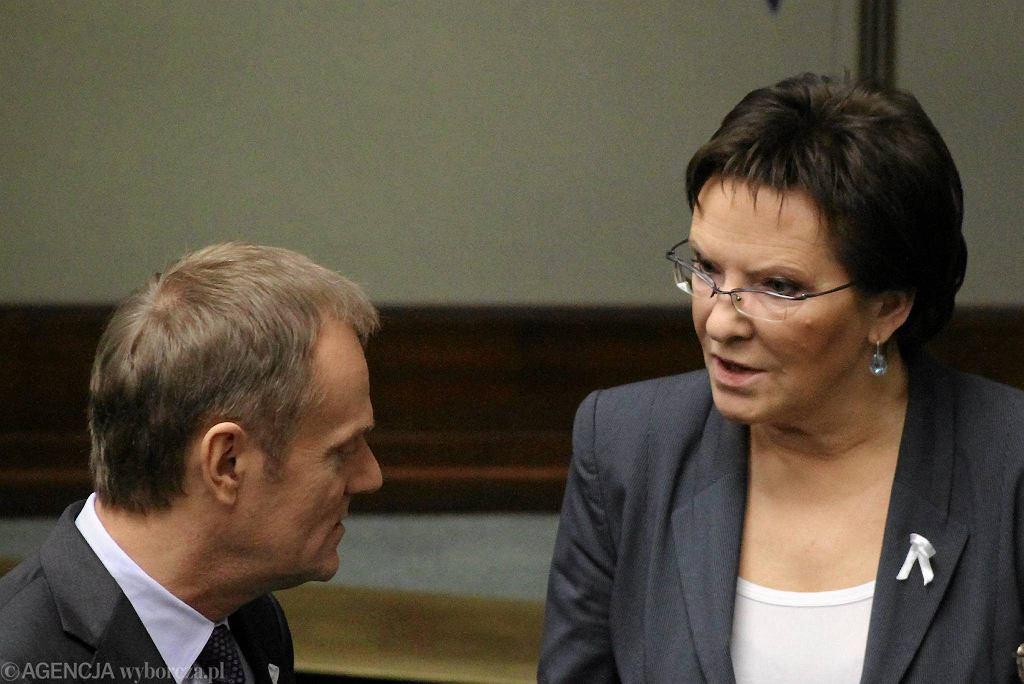 Donald Tusk i Ewa Kopacz w Sejmie, grudzień 2013 r.