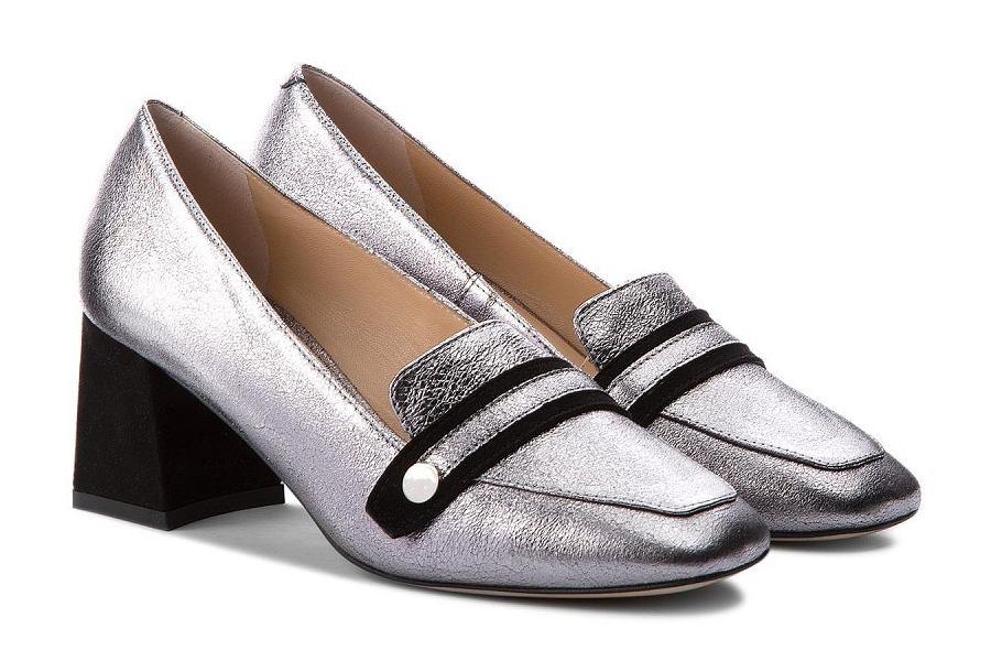 srebrne buty na niskim obcasie