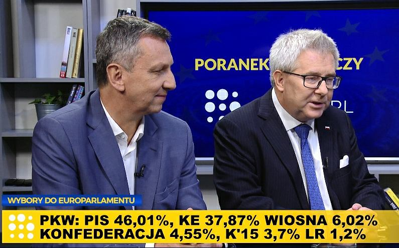 Poseł PO Andrzej Halicki i europoseł PiS Ryszard Czarnecki w Poranku Wyborczym w Gazeta.pl