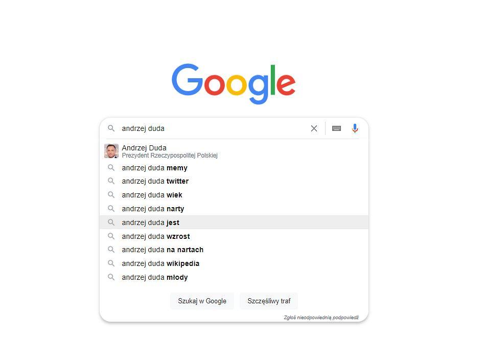 Autopodpowiedzi Google na frazę 'Andrzej Duda'