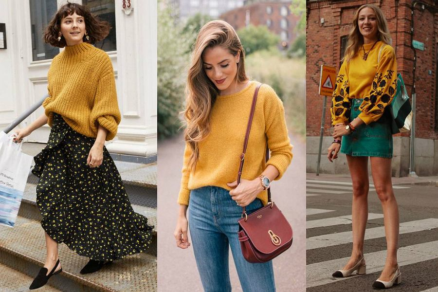 Musztardowy sweter - stylizacje