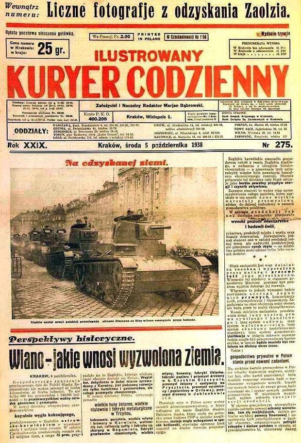 Zajęcie Zaolzia było traktowane w Polsce w 1938 roku jako sukces. Z perspektywy czasu rozdrapywanie Czechosłowacji u boku Hitlera nie było powodem do dumy